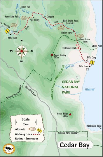 Map of Cedar Bay walking trail courtesy Footloose publications