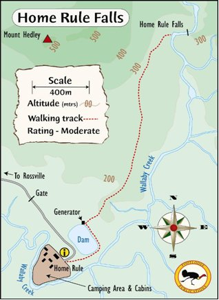 Map of walking trail to Home Rule Falls courtesy Footloose publications