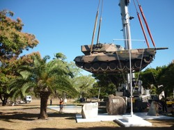 The Leopard Tank being delivered